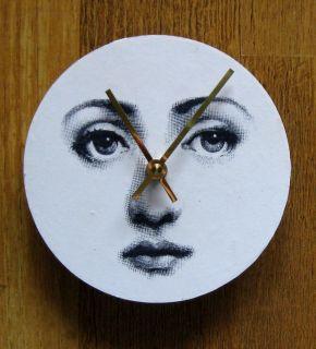 Fornasetti Face. Unique handmade wall clock.