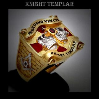10 Knight Templar Masonic Ring 2tone 18K Gold Pld Cross & Crown 45 g
