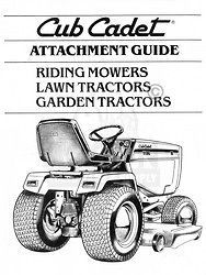 CUB CADET Attachment Guide Lawn Garden Tractors Manual