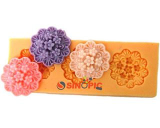 Wholesale 3D 3pcs Flower shape Silicone chocolate jelly Soap Molds