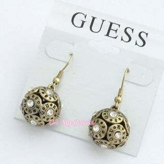 GUESS ANTIQUE FINISH GOLD SILVER TONE CRYSTAL BALL DROP EARRINGS E2101