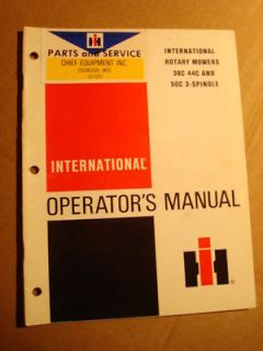 IH INTERNATIONAL HARVESTER CUB CADET 582 MOWER OPERATORS MANUAL