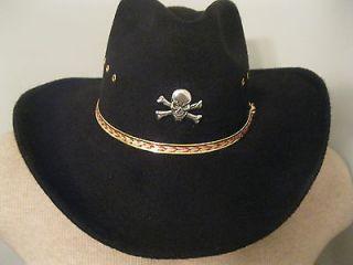 Western Cowboy Hat w Skull & Crossbones Concho   Felt  Black   PLEASE