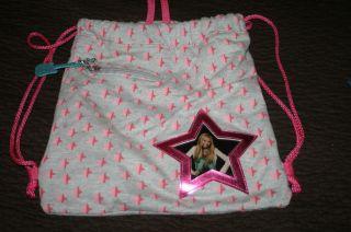 Hannah Montana Miley Cyrus Fabric Cotton Backpack Girls Pink Stars