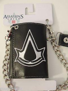 Assassins Creed III 3 Video Game Chain Black Wallet NWT