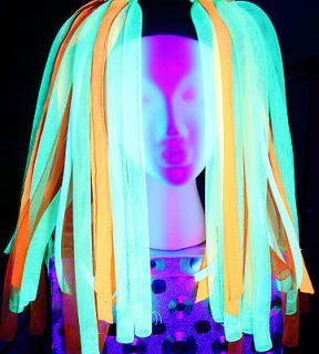 Cyber falls  Cyrus Neon Cyberlox green orange hair rave dread UV