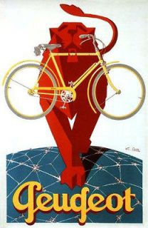 Bicycle Bike Cycles Lion Glove Earth Peugeot French Vintage Poster