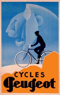 Fashion Man Riding Bicycle Cycles Bike Peugeot Lion Vintage Poster