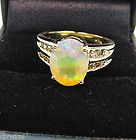 BEAUTIFUL COLORS NATURAL SOLID FACETED OPAL & DIAMONDS 14K GOLD RING