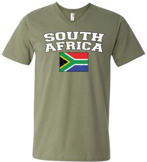 South Africa Country Flag Mens V Neck T Shirt Tee South African Soccer