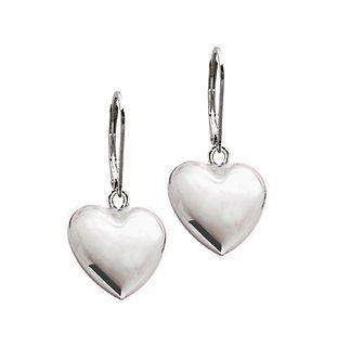 3D Heart Puffed .925 Sterling Silver Dangle Leverback Earrings