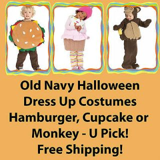 Old Navy Halloween Dress Up Costumes Hamburger,Cupcake,Monkey 0 6 12