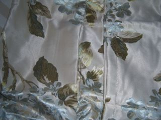 CHRIS MADDEN BLUE FLORAL ROD POCKET DRAPES 84 x 84