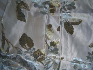 CHRIS MADDEN BLUE FLORAL ROD POCKET DRAPES 84 x 84