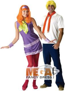 Scooby Doo Daphne & Fred Couple Fancy Dress Costume Mens Ladies