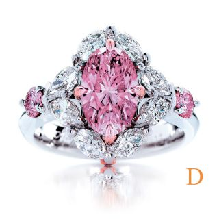 39 Carat Fancy Pink Oval Cut GIA Diamond 22k White Gold (Marquise