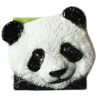 Panda Bear sculpture CERAMIC 3d TILE wall plaque home decor SKA