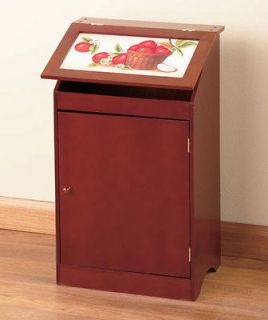 Wooden Trash Bin Kitchen Storage Container Charming Country Home Decor