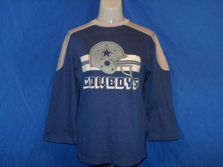 vintage 80S DALLAS COWBOYS HELMET PAJAMA TOP STYLE BLUE SOFT t shirt