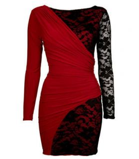 Drape And Lace Detail Bodycon Dress with Lining in Red&Black, Size S