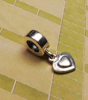 listed AUTHENTIC Pandora Silver Bead CHARM HEART DANGLE #790373 NEW