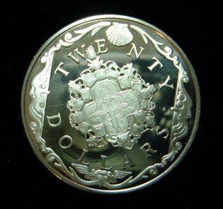 British Virgin Islands 1985 20 Dollars Coin, .925 Silver Proof Gold