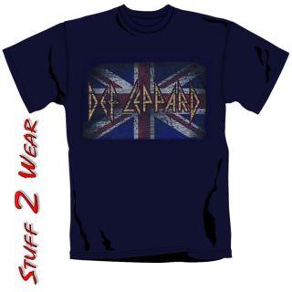 Def Leppard Vintage Style Union Jack Logo Official Mens T Shirt