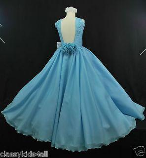 Children Teen Girl National PAGEANT Wedding Dress Blue Sz 3 4 5 6 7 8