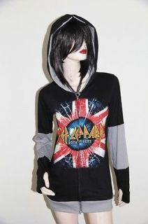 Def leppard Heavy Rock DIY Funky Zip Hoodie Jacket Top Shirt
