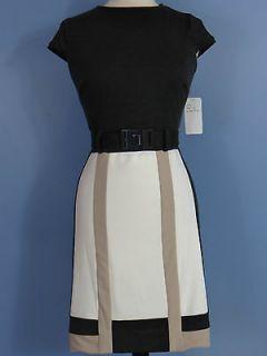 New NWT SD Sandra Darren Cap Sleeve Ponte Dress Belt Stretch Color