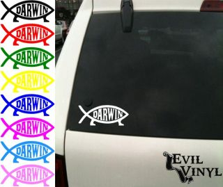 Darwin Fish Vinyl Car Window Decal Evolution Theory Science Athiest