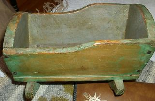 Antique Doll Cradle Wooden Green Paint Handmade 7.5 19 century