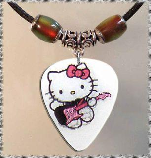 HELLO KITTY White Motion Tibetan Silver GUITAR PICK NECKLACE Jewelry