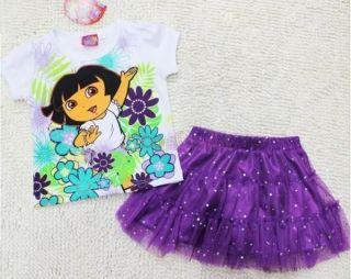 Girls Dress White Short Sleeve T Shirt Purple Skirt Sequin SZ 2 3
