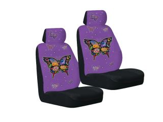 4pc Set Yujean Purple Celestial Butterfly Auto Car Seat Cover Front