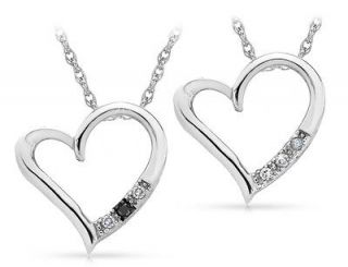 White OR All White Diamond Heart Pendant Necklace in Sterling Silver