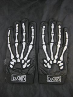 Leather Skeleton Gloves   3M Reflective Bones Halloween Rob Zombie