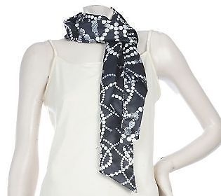 Dennis Basso Black with Silver Pearl Print Scarf A211496