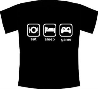Eat, Sleep, Game   Funny Gaming Fanatic T Shirt Wii,XBOX,PS3,3 60,DSi