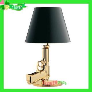 Modern Design Gold Gun Table Lamp LED Desk Lighting Beside Light House