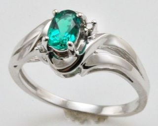 listed Lab Created Emerald and Diamond Sterling Silver Ring Size 7