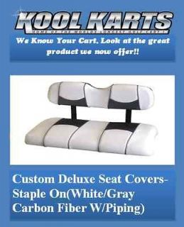 Club Car Precedent Golf Cart Dlux Vinyl Seat Covers Staple On(White