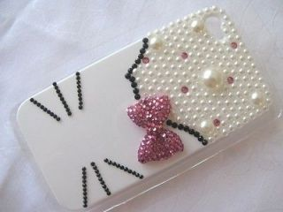 White Background Hello Kitty Diamond Pearl Apple iPhone4/4S