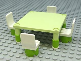 Minifig Sized Green TABLE & CHAIRS  Great for Minifigure Kitchen Food