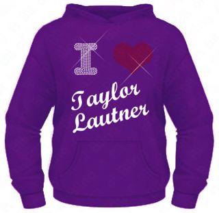 Ladies Diamante / Rhinestone I Love ( Heart ) Taylor Lautner hoodie XS