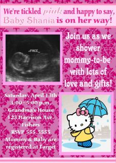 Hello Kitty Ultrasound Baby Shower Invitation