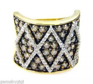 Chocolate Brown Diamond Pave Criss Cross Band Ring Yellow Gold 10kt