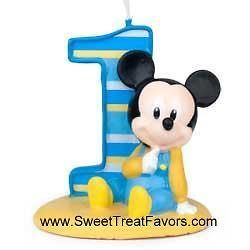 Disney Baby MICKEY Party 1st Birthday Favors Candle Cake Topper Kit