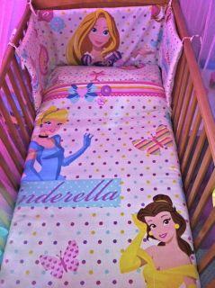 Disney Princess Rapunzel Belle Cinderella COT BEDDING SET