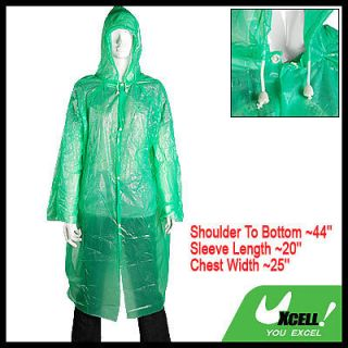 Unisex Green Plastic Emergency Adult Raincoat Rain Coat
